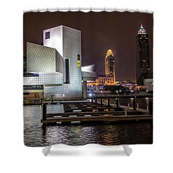 Rock Hall Of Fame And Cleveland Skyline Shower Curtain by Peter Ciro