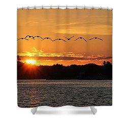Rock Island Lighthouse Shower Curtain by Lori Deiter
