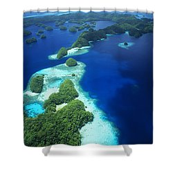 Rock Islands Aerial Shower Curtain by Allan Seiden - Printscapes