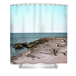 Shower Curtain featuring the photograph Rock Jetty by Colleen Kammerer