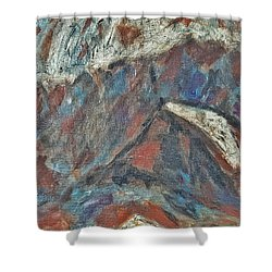 Rock Landscape Abstract  Fall Waves And Forests Swirling In The Background In Red Blue Orang Shower Curtain by MendyZ