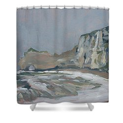 Rock Of Amont Etretat After The Rain Shower Curtain