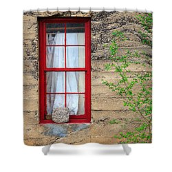 Shower Curtain featuring the photograph Rock On A Red Window by James Eddy