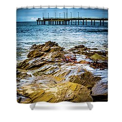 Shower Curtain featuring the photograph Rock Pier by Perry Webster