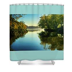 Rock River Autumn Morning Shower Curtain