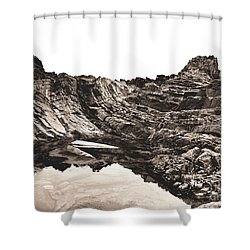 Shower Curtain featuring the photograph Rock - Sepia by Rebecca Harman