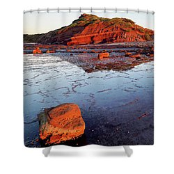 Shower Curtain featuring the photograph Rock Shelf At Long Reef 1 by Nicholas Blackwell