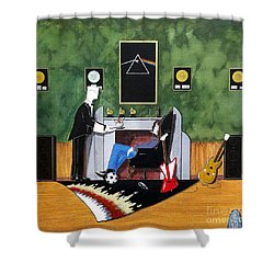 Rock Star Sitting In Chair Served A Sundae By Butler Shower Curtain by John Lyes