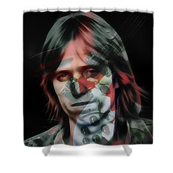 Shower Curtain featuring the mixed media Rock Star Tom Petty by Marvin Blaine