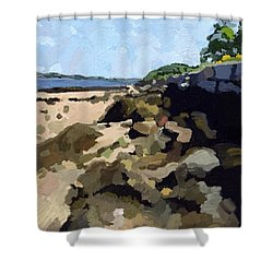 Rock Wall Looking South On Ten Pound Island, Gloucester, Ma Shower Curtain