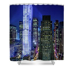 Shower Curtain featuring the photograph Rockefeller At Night by M G Whittingham
