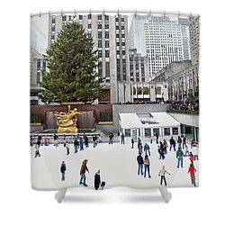 Shower Curtain featuring the photograph Rockefeller Center Skating Rink  by Mitch Cat