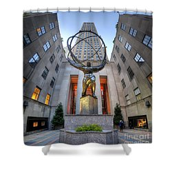 Rockefeller Centre Atlas - Nyc - Vertorama Shower Curtain