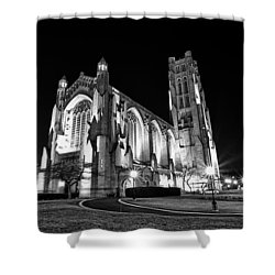 Rockefeller Chapel - B And W Shower Curtain by CJ Schmit