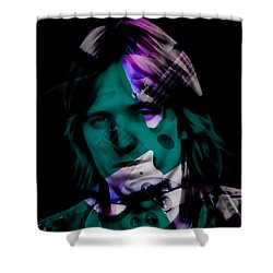 Shower Curtain featuring the mixed media Rocker Tom Petty by Marvin Blaine