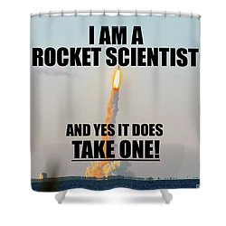 Rocket Scientist T Shirt Design A Shower Curtain by David Lee Thompson