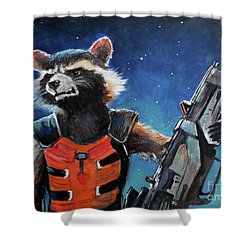Rocket Shower Curtain by Tom Carlton