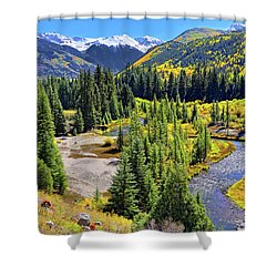 Rockies And Aspens - Colorful Colorado - Telluride Shower Curtain by Jason Politte