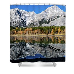 Rockies From Wedge Pond Under Late Fall Colours, Spray Valley Pr Shower Curtain