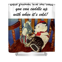 Rocking With Friends - Kitten And Stuffed Animals Painting Shower Curtain by Patricia Barmatz