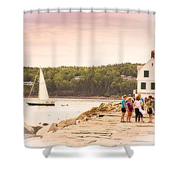 Shower Curtain featuring the photograph Rockland Breakwater by Paul Miller
