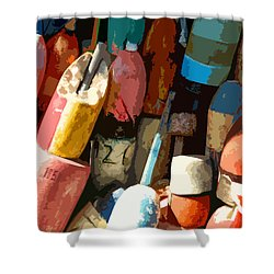 Rockport Buoys Shower Curtain