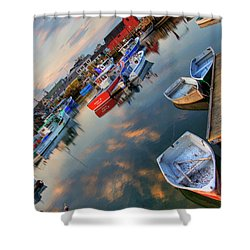 Shower Curtain featuring the photograph Rockport Harbor Motif #1  by Joann Vitali