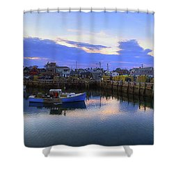 Shower Curtain featuring the photograph Rockport Harbor Sunset Panoramic With Motif No1 by Joann Vitali