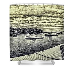 Rockport Outer- Harbor Shower Curtain by Daniel Hebard