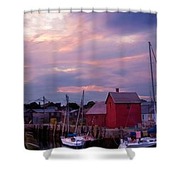 Shower Curtain featuring the photograph Rockport Sunset Over Motif #1 by Jeff Folger