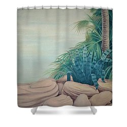 Rocks And Palm Tree Shower Curtain