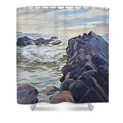 Rocks At Widemouth Bay, Cornwall Shower Curtain