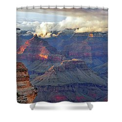 Rocks Fall Into Place Shower Curtain by Debby Pueschel