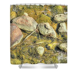 Rocks In Water Shower Curtain by Jim Sauchyn