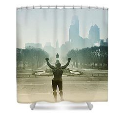 Rocky At The Top Of The Steps Shower Curtain by Bill Cannon