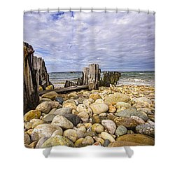 Rocky Beach In Springs Ny Shower Curtain