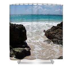 Shower Curtain featuring the photograph Rocky Beach In The Caribbean by Margaret Bobb
