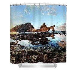 Shower Curtain featuring the photograph Rocky Beach Sunrise, Bali by Pradeep Raja Prints