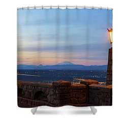 Rocky Butte Viewpoint At Sunset Shower Curtain by David Gn