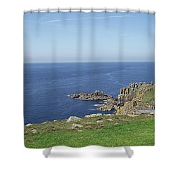 Rocky Coastline At Land's End Shower Curtain by Jayne Wilson