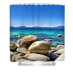 Rocky Cove Sand Harbor Shower Curtain