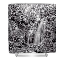Shower Curtain featuring the photograph Rocky Falls - Bw by Christopher Holmes