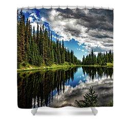 Rocky Mountain Lake Irene Shower Curtain