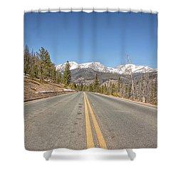 Rocky Mountain Road Heading Towards Estes Park, Co Shower Curtain