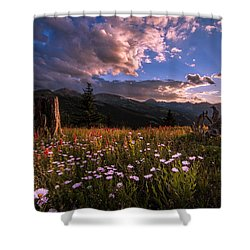 Rocky Mountain Summer Sunset Shower Curtain by Michael J Bauer