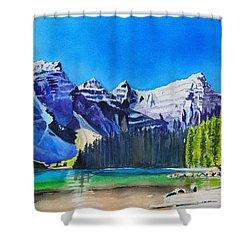 Rocky Mountain Sunrise Shower Curtain