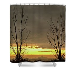 Shower Curtain featuring the photograph Rocky Mountains Horizon Through The Trees by James BO Insogna
