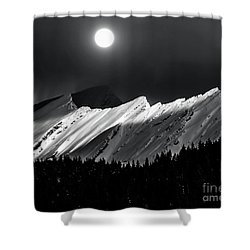 Rocky Mountains In Moonlight Shower Curtain by Elaine Hunter