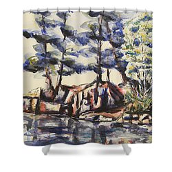 Rocky Pines Shower Curtain by Heather Kertzer