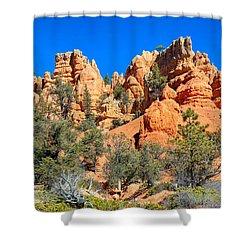 Shower Curtain featuring the photograph Rocky Range At Red Canyon by John M Bailey